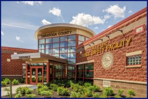 Exterior Shot of the Front Entrance of Saratoga County's Paul E. Lent Public Safety Facility in Ballston Spa, NY